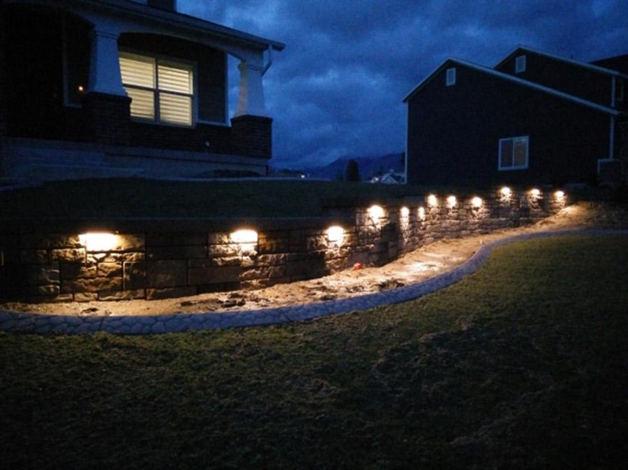 Landscape Lighting For Walls : Led hardscape light quot deck step and landscape
