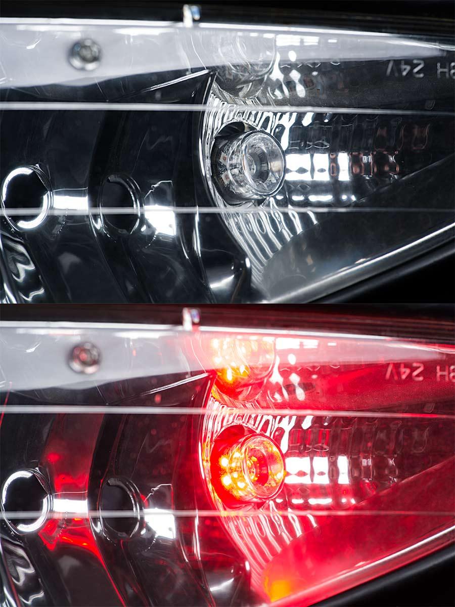 LED Hideaway Strobe Lights - Mini Emergency Vehicle LED Warning Lights:  Shown On Installed In Vehicle Headlight (Red Strobe)