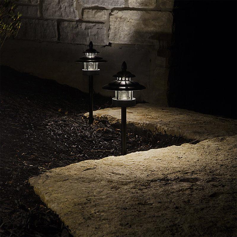 Led landscape path lights dual tier 2 watt aluminum for Outside walkway lights