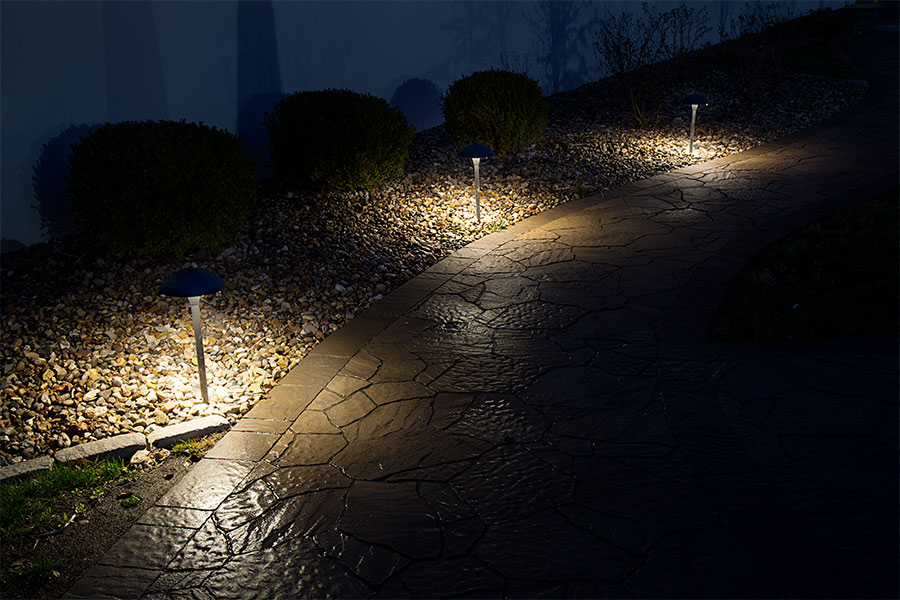 Landscape LED Path Lights w/ Mushroom Shade - 3 Watt - Adjustable Height Installed on Landscape Path : path led landscape lighting - azcodes.com