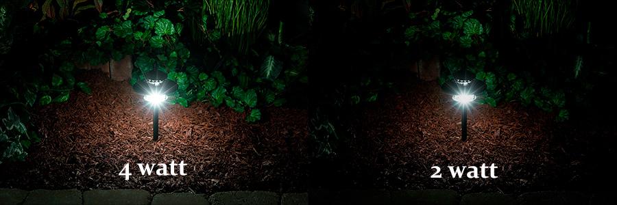 LED Landscape Path Lights   Dual Tier   4 Watt   Aluminum Housing: Showing  4 Watt Vs. 2 Watt In Natural White.