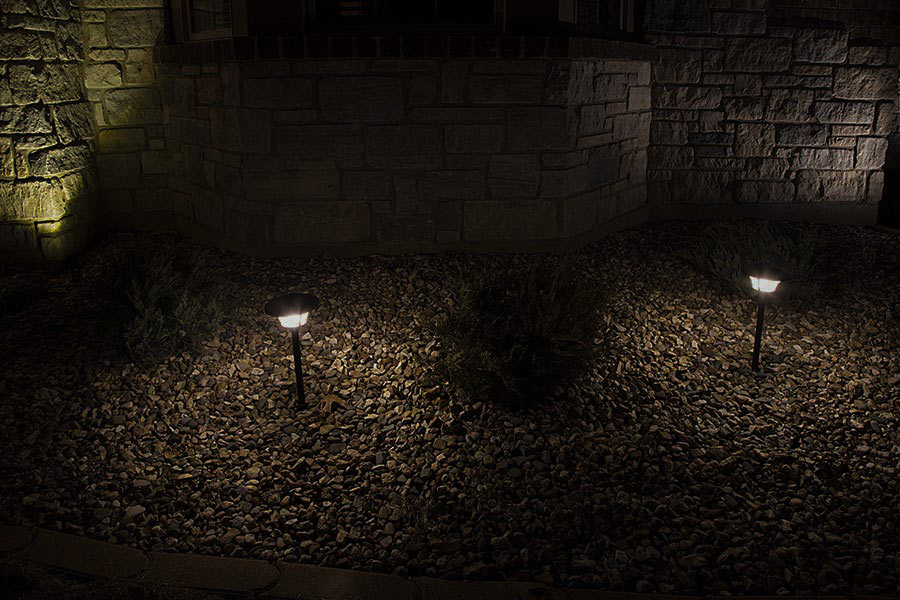 led landscape path lights single tier 2 watt showing lights installed along path natural white - Path Lights