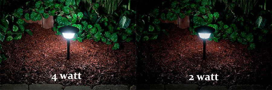 LED Landscape Path Lights   Single Tier   2 Watt   Aluminum Housing:  Showing 4 Watt Versus 2 Watt Version.