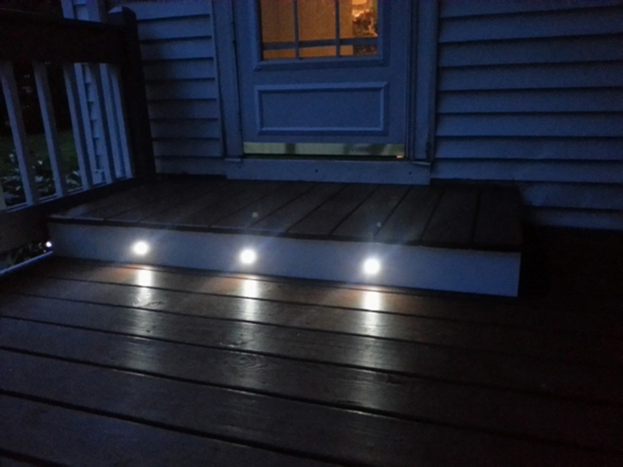 Led step lights 1 watt 1 led mini round deck step for Landscape deck lighting