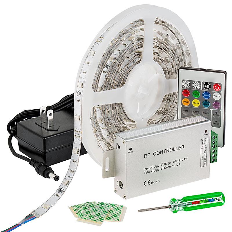 Rgb led strip light kit 12v led tape light 122 lumensft led light strip full kit with multi color leds led tape light with 9 smdsft 3 chip rgb smd led 5050 aloadofball Images