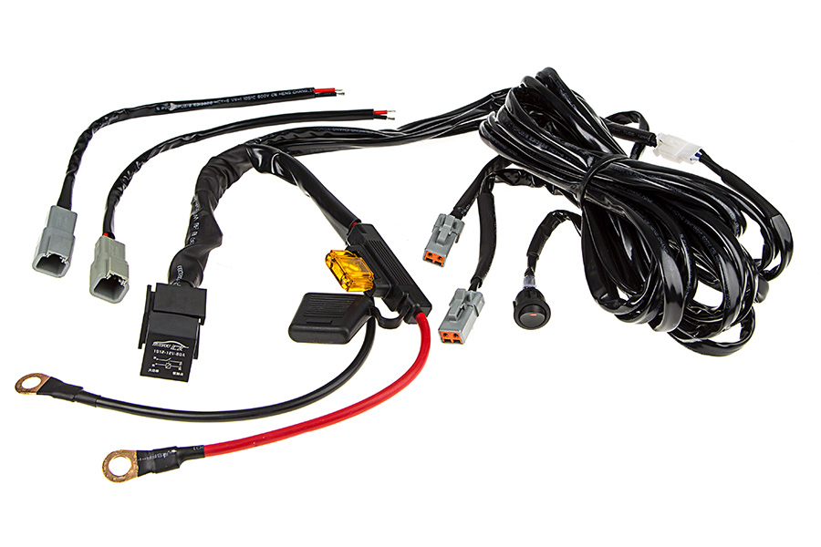 led light wiring harness with switch and relay dual output atp rh superbrightleds com led wiring harness fuse led wiring harness dual outlet