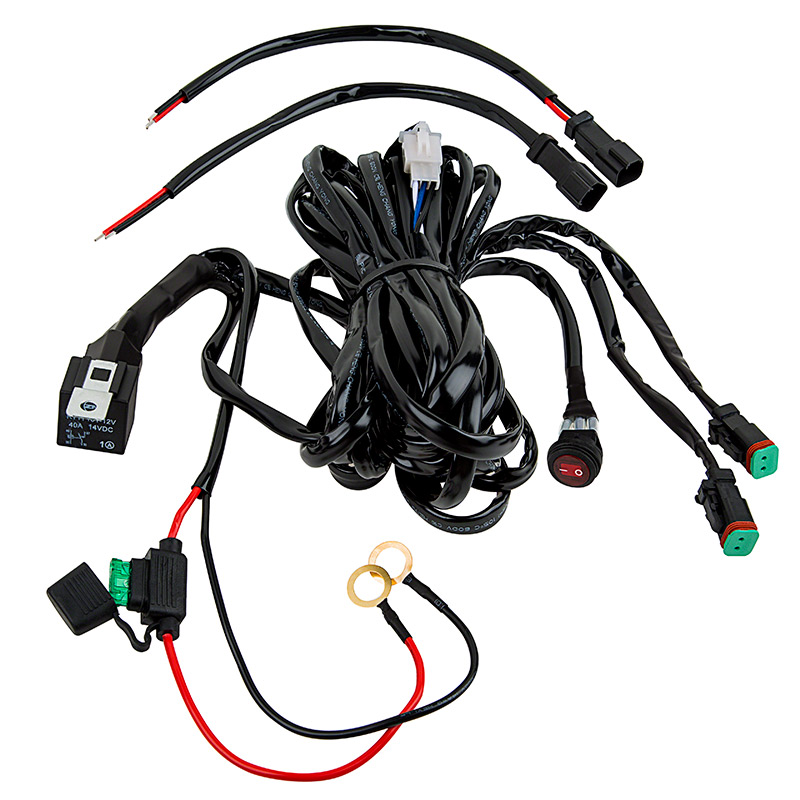 LED Light Wiring Harness with Relay and Weatherproof Switch - Dual on spark plug covers, fan covers, wiring cable covers,