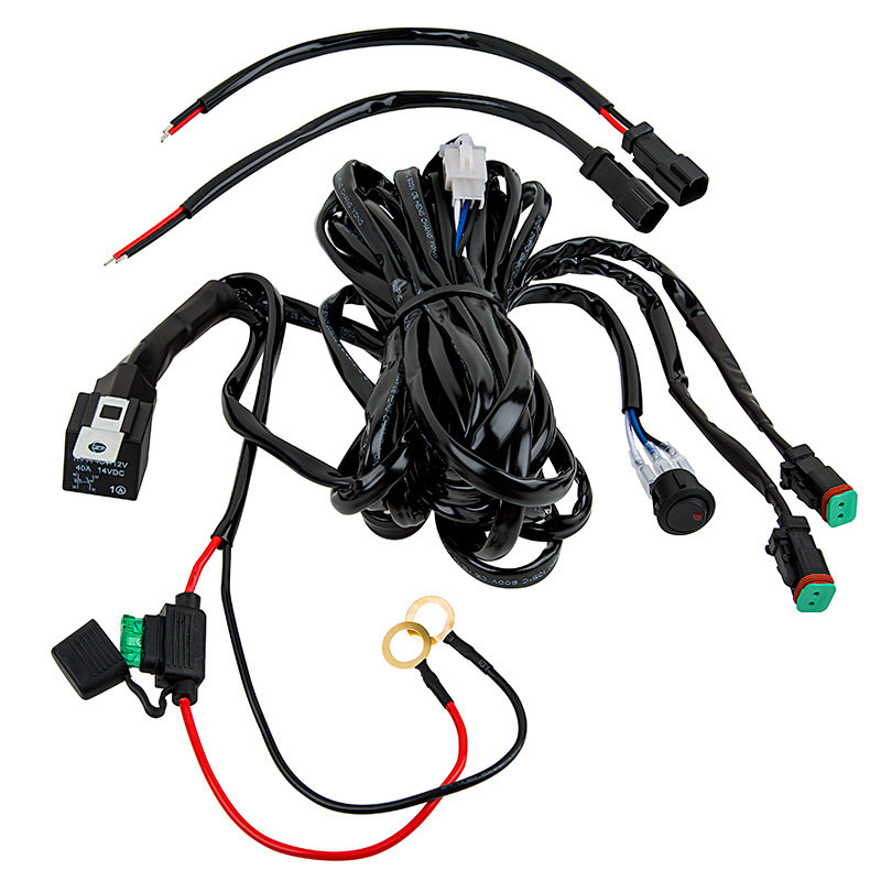 led light wiring harness with switch and relay - dual output, dt connector | wire harnesses ... mrl led wiring harness #6