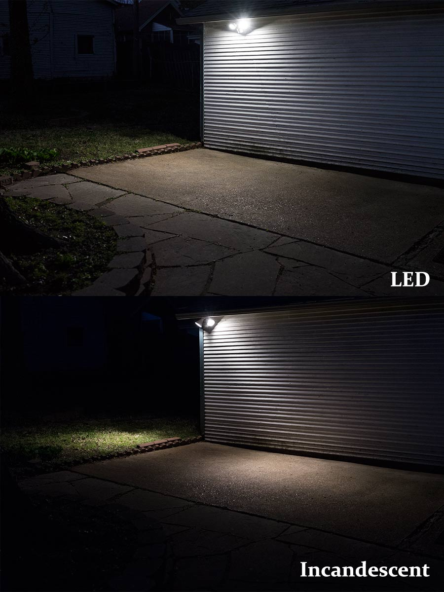 Led motion sensor light 2 head security light 20w 100w led motion sensor light 2 head security light 20w shown compared to incandescent equivalent aloadofball