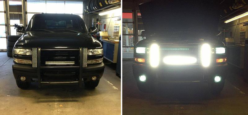 Heavy Duty Off Road LED Light Bars on Truck & 21