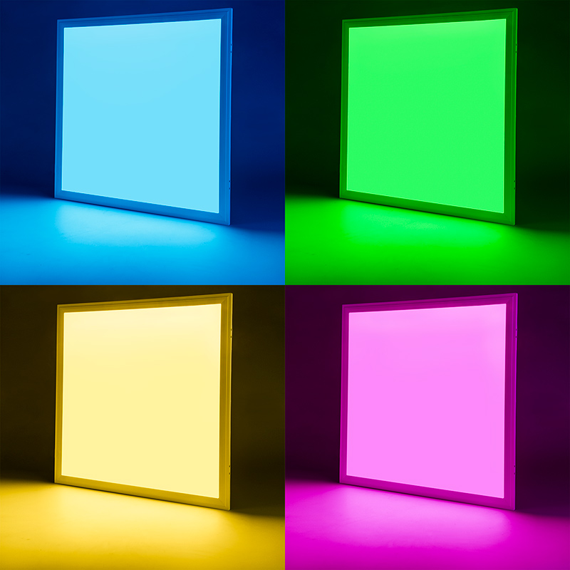 Rgb led panel light 2x2 36w dimmable even glow light fixture 36w rgb led panel light fixture 2ft x 2ft on showing beam pattern in blue top left green top right yellow bottom left and magenta bottom right mozeypictures