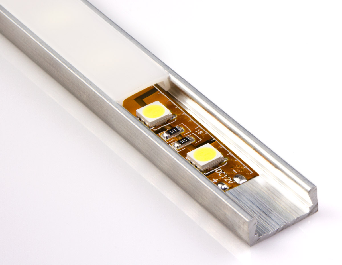 Low Profile Surface Mount Led Housing For Strip Lights Wiring Channel Aluminum Micro Alu Series With Flexible Light Not Included And Standard Frosted Lens
