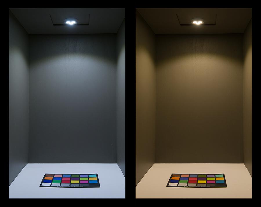 3 Watt LED Puck Light Fixture: On Showing Beam ...