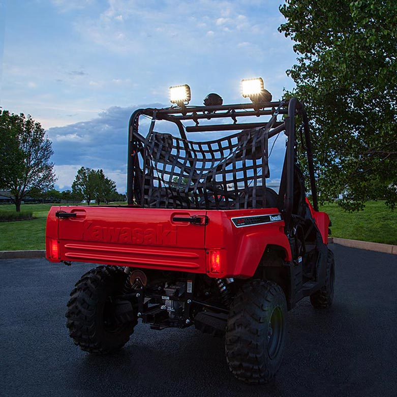 4 quad row off road led light bar w multibeam technology 27w quad row heavy duty off road led light with combo beam attached to top of atv utv aloadofball Image collections