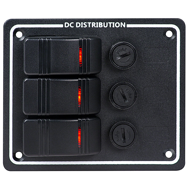 led rocker switch panel with fuse front led rocker switch panels with fuse weatherproof dc distribution  at reclaimingppi.co