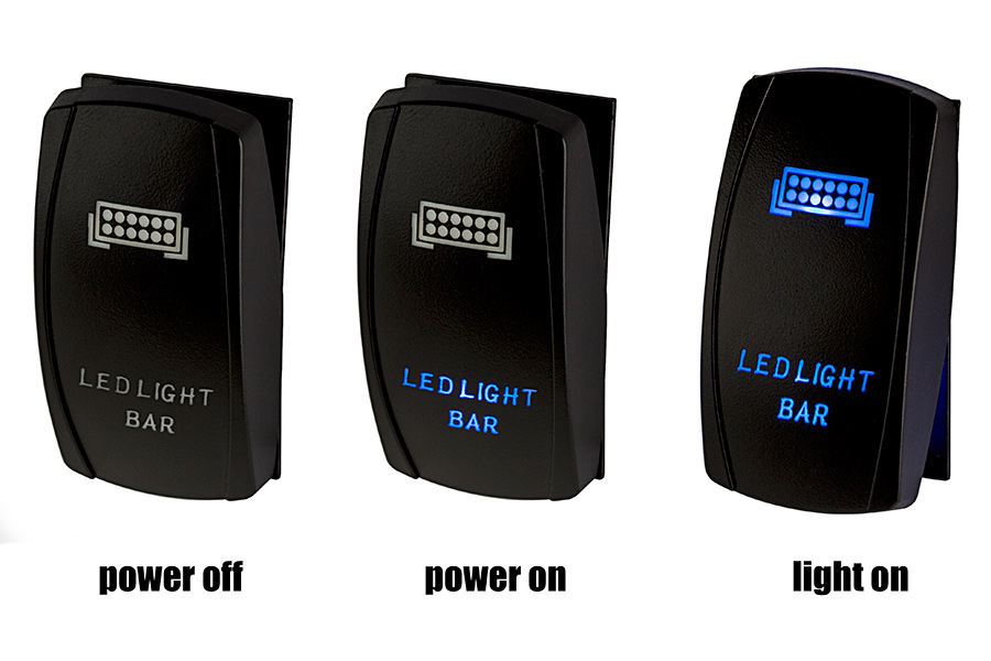 Led Lights Switch: LED Rocker Switch with Legend - Rock Lights Switch: Power Off, Power On,,Lighting