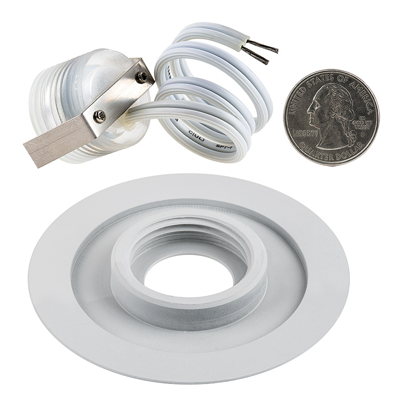 Parking Lot Lighting Watts Per Square Foot: White 70mm Metal Trimmed Mini Round Deck
