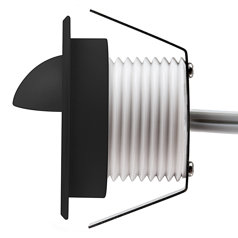 LED Step Lights Black 40mm Metal Trim with Hood Mini