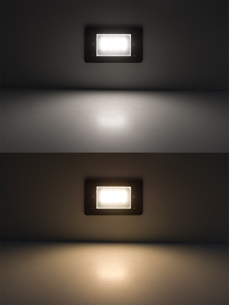 stair step lighting. Face Plate For Rectangular LED Step Light - Open Window Or Louvered: Shown On In Natural White (Top) And Warm (Bottom). Stair Lighting I