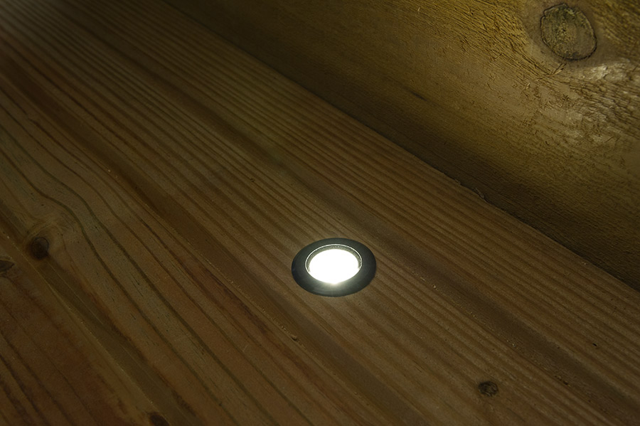 deck accent lighting. LED Step Lights - Black 40mm Plactic Trimmed Mini Round Deck / Accent Light 1 Watt: Shown Installed On And ON. Lighting