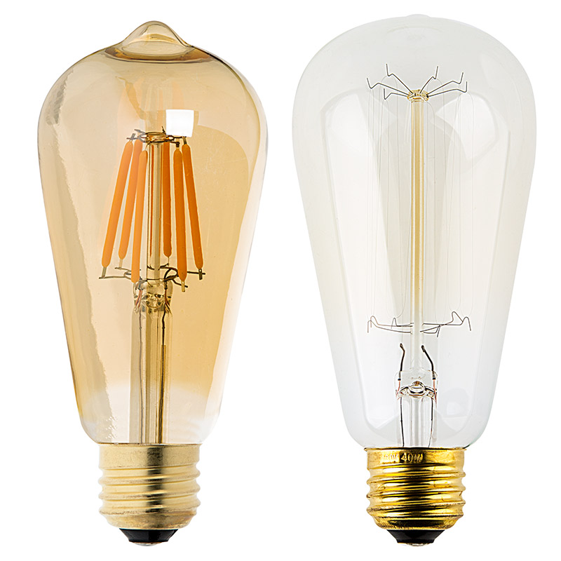 st18 led filament bulb gold tint vintage light bulb 40 watt equivalent dimmable 343. Black Bedroom Furniture Sets. Home Design Ideas
