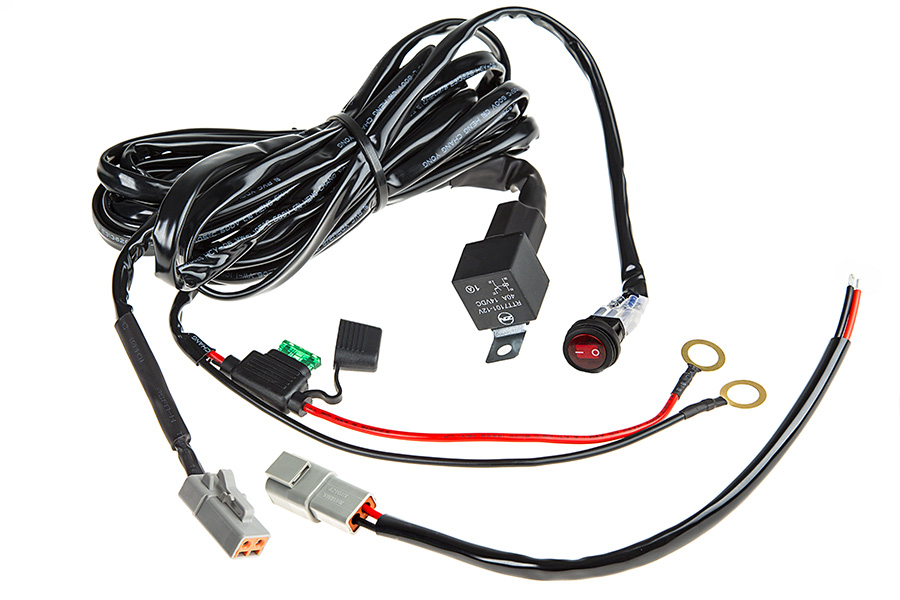 led light wiring harness with weatherproof switch and relay