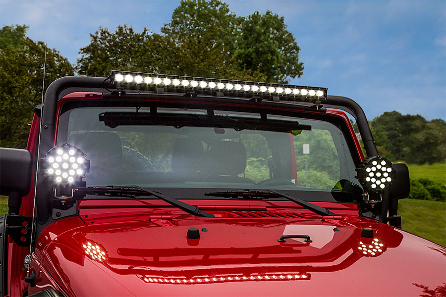 Off road led work lightled driving light 6 round 39w 2200 6 inch round 51w heavy duty high powered led work light installed by pur performance onto jeep aloadofball Images