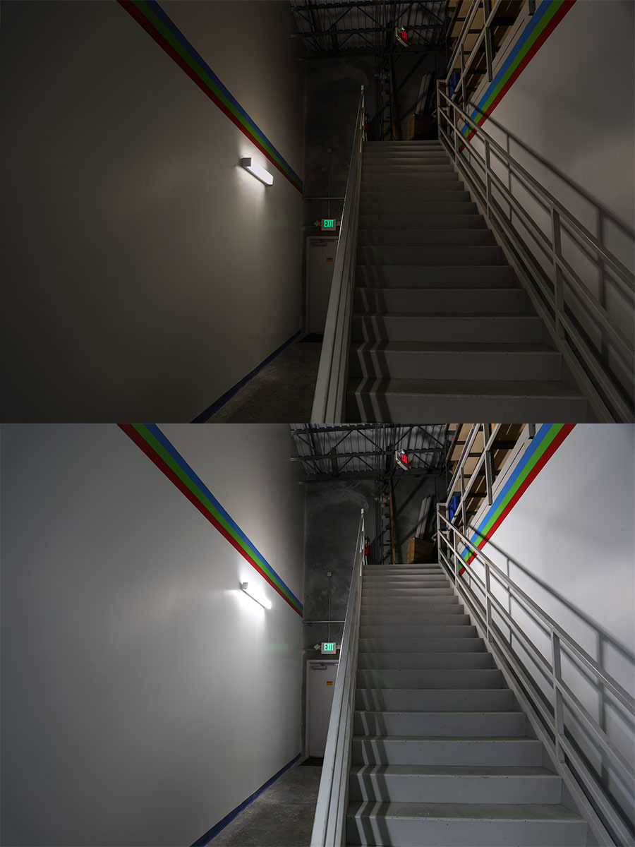 50w Low Bay Led Light Fixture Industrial 4 Long Shown Installed By Warehouse Steps And Compared To Florescent