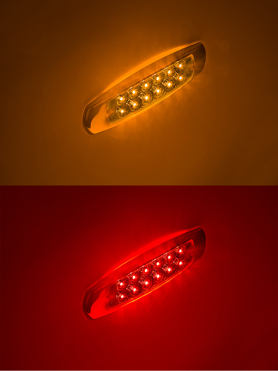 Low Profile Peterbilt Style LED Truck And Trailer Lights W/ Clear Lens   6u201d  LED Side Clearance Lights W/ 12 High Flux LEDs   Pigtail Connector: Showing  ...