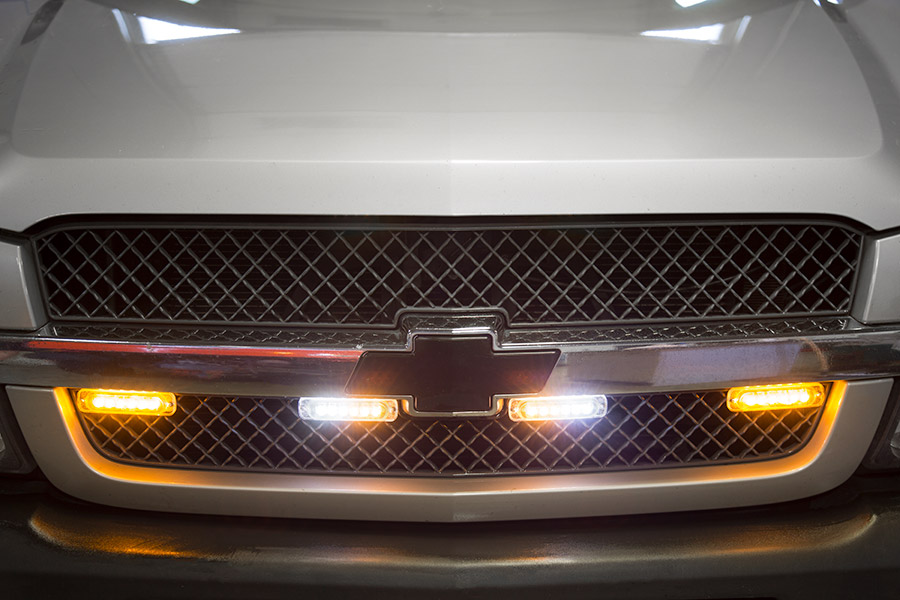 Low Profile Vehicle LED Mini Strobe Light Head - Single or Dual Color - 18 Watt Shown Installed On Truck Grille In Amber/White (Middle Strobes) ... & Low Profile Vehicle LED Mini Strobe Light Head - Built-In ... azcodes.com