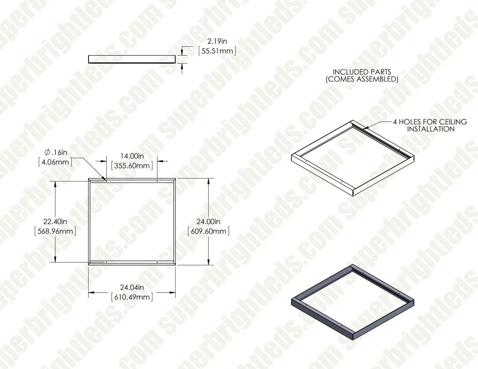 2x2 Surface Mount Kit for LPD-TWR Panels
