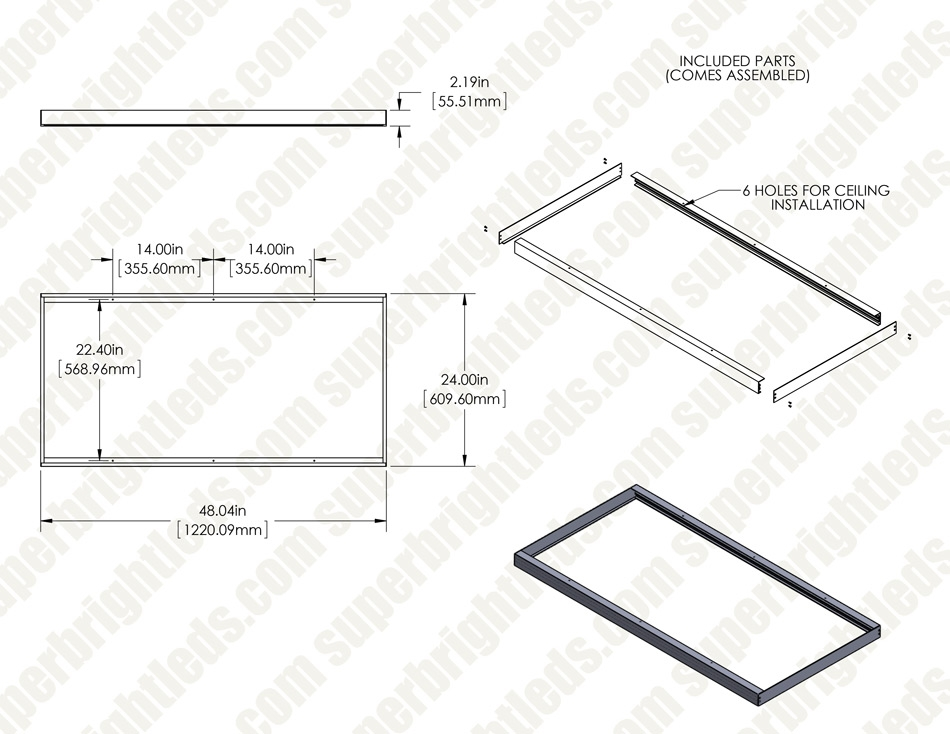 2x4 Surface Mount Kit for LPD-TWR Panels