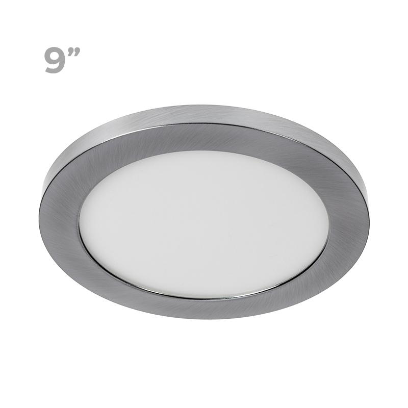 "new style 66fa7 9eb1e 9"" LED Downlight w/ Brushed Nickel Trim - 18W Flush Mount Ceiling Light -  1,440 Lumens - 100 Watt Equivalent - 4000K/3000K - Dimmable"