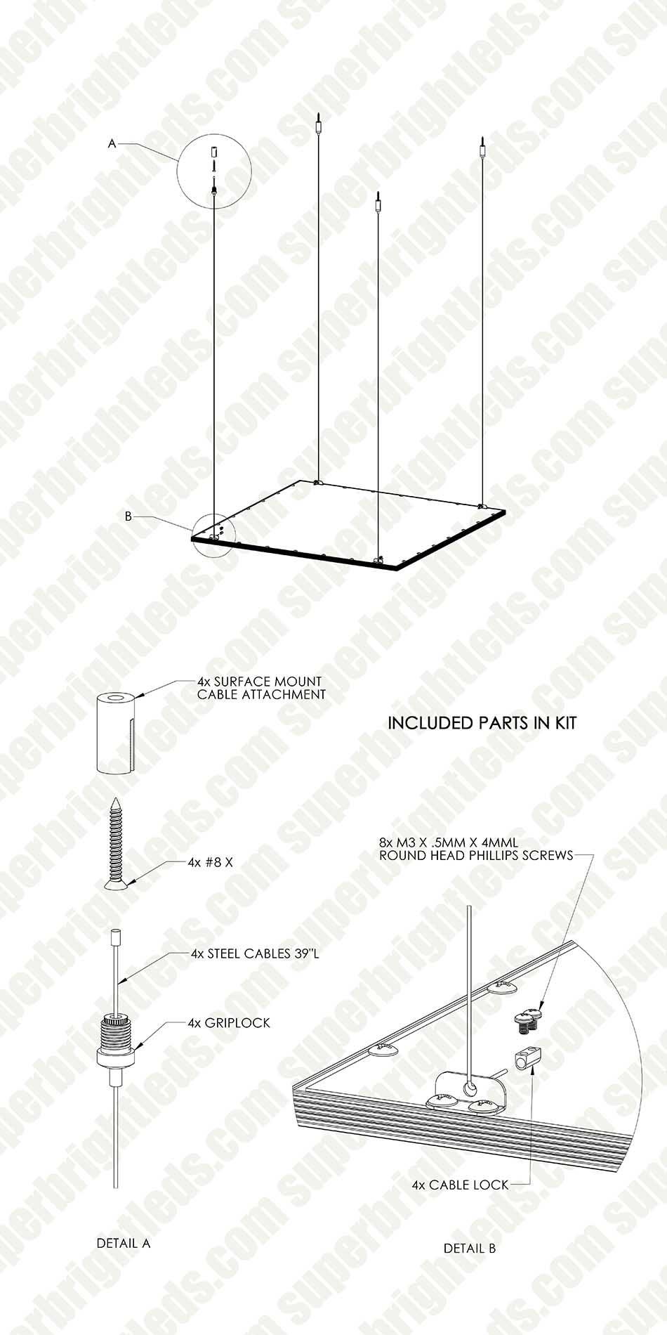 LED Panel Light Suspension Kit Mounting Hardware for LED Panels and Linear Fixtures
