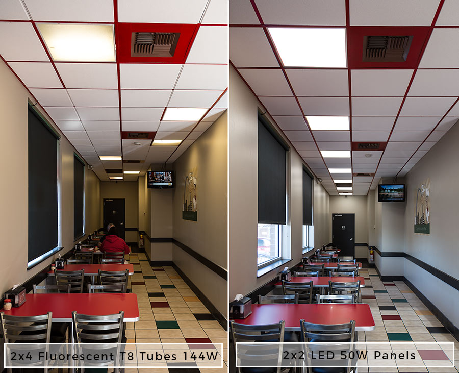 low voltage interior lighting kits%0A LED Panel Light   x         Lumens    W EvenGlow   Light Fixture  Drop  Ceiling Recessed Mount  Showing Comparison Between Fluorescent and LED  Output in
