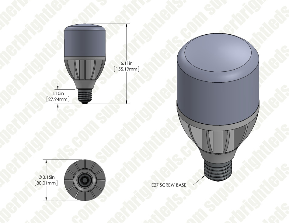 16W High Output LED Bulb - 2,200 Lumens - E26/E27 Commercial & Residential Retrofit Light - 50W Metal Halide Equivalent - 4000K/2700K