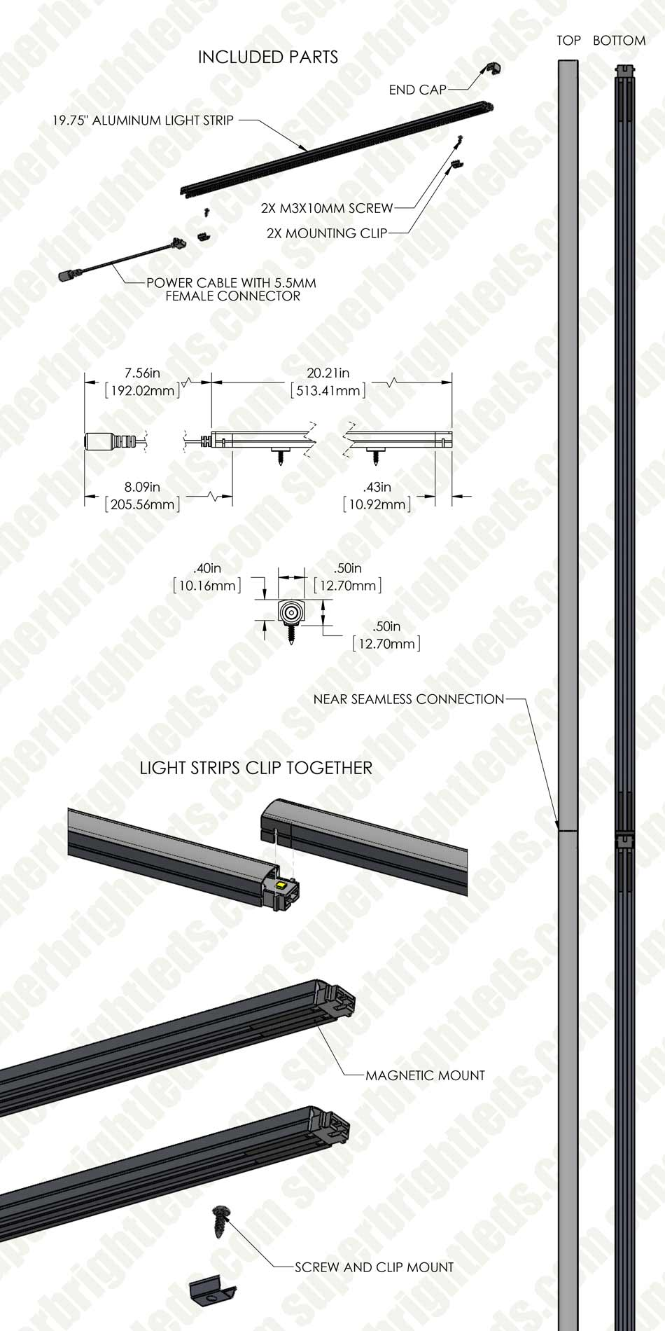 Linkable LED Under Cabinet Light Bar - Seamless Connection - 20