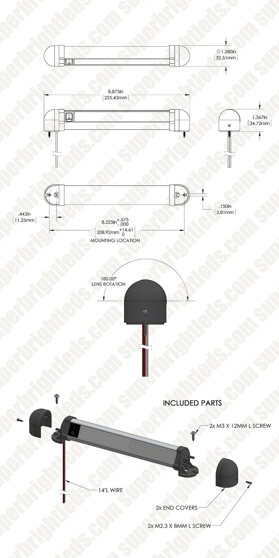 9 u0026quot  swivel utility led light bar with rocker switch