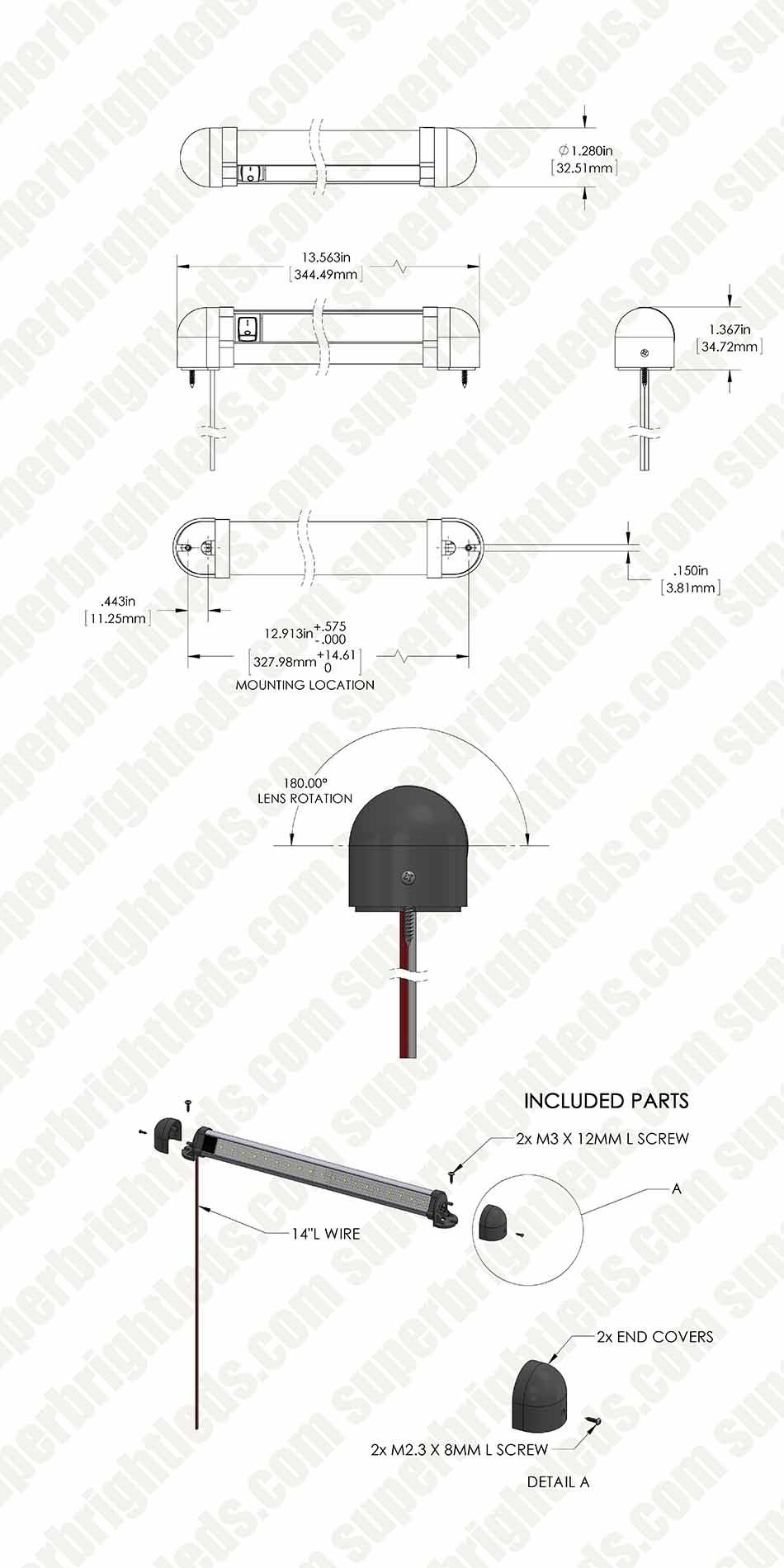 135 Swivel Utility Led Light Bar With Rocker Switch 150 Lumens Wiring Diagram Mini