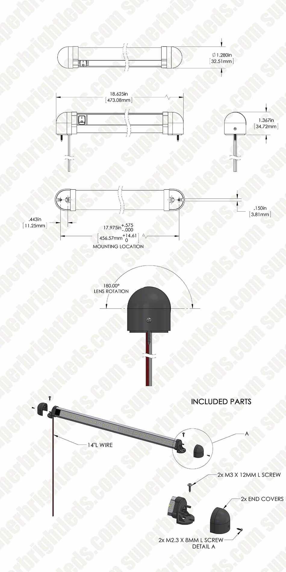 1812 Heavy Duty Swivel LED Utility Light Bar w 12 LEDs and
