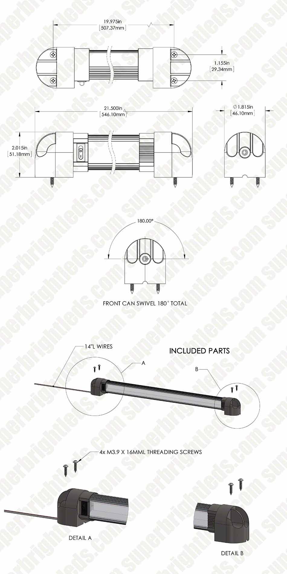 21 1 2 Heavy Duty Swivel Led Utility Light Bar W 12 Leds And Wiring Diagram Mini Rocker 215 With Switch