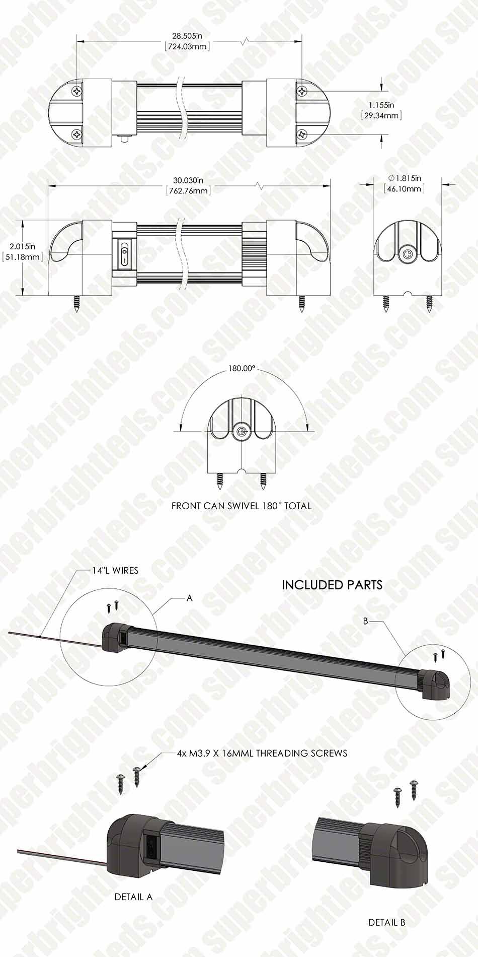 30 Heavy Duty Swivel Led Utility Light Bar W 18 Leds And Rocker 12v Switch Blue All Electronics Corp With