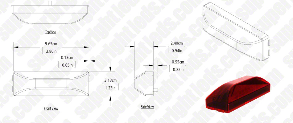 "Rectangular LED Truck Trailer Light - 3-3/4"" Thin Line LED Marker Clearance Light with 12 LEDs"