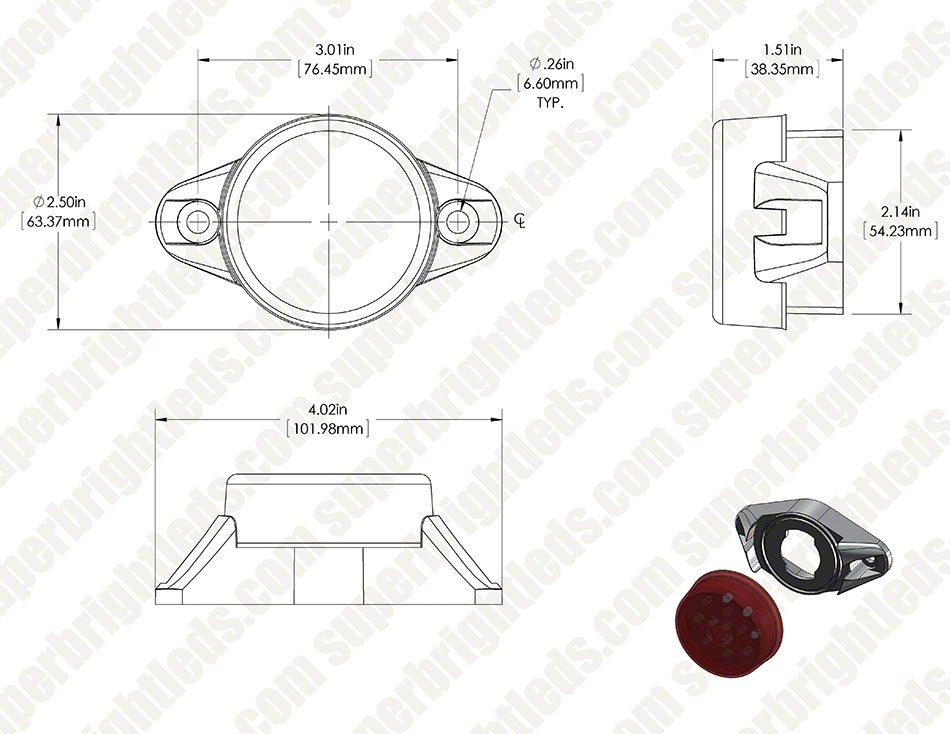 round led truck and trailer lights  2 u201d led side