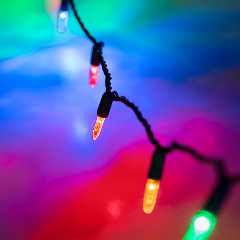 Christmas String Lights.Mini Multicolor Led Christmas String Lights 25ft 50 Faceted M5 Bulbs Green Wire