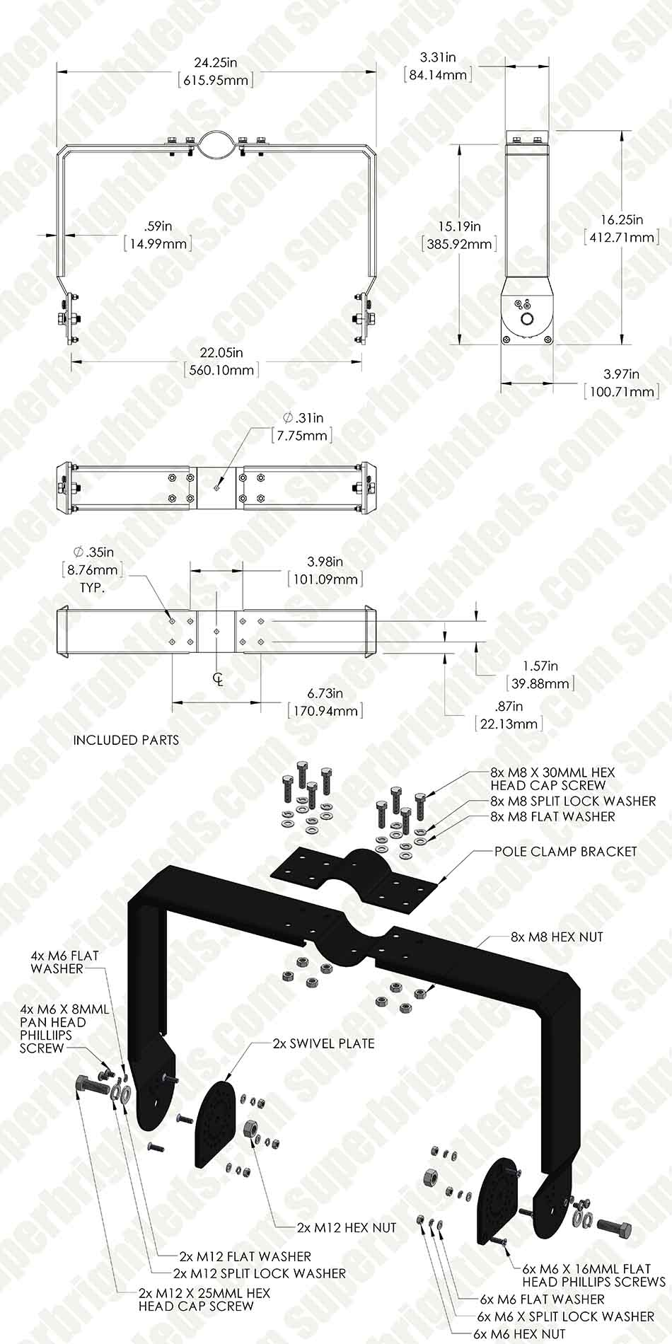 Clamp Ring Mount Kit for MD series Modular LED High Bay Light - 450W