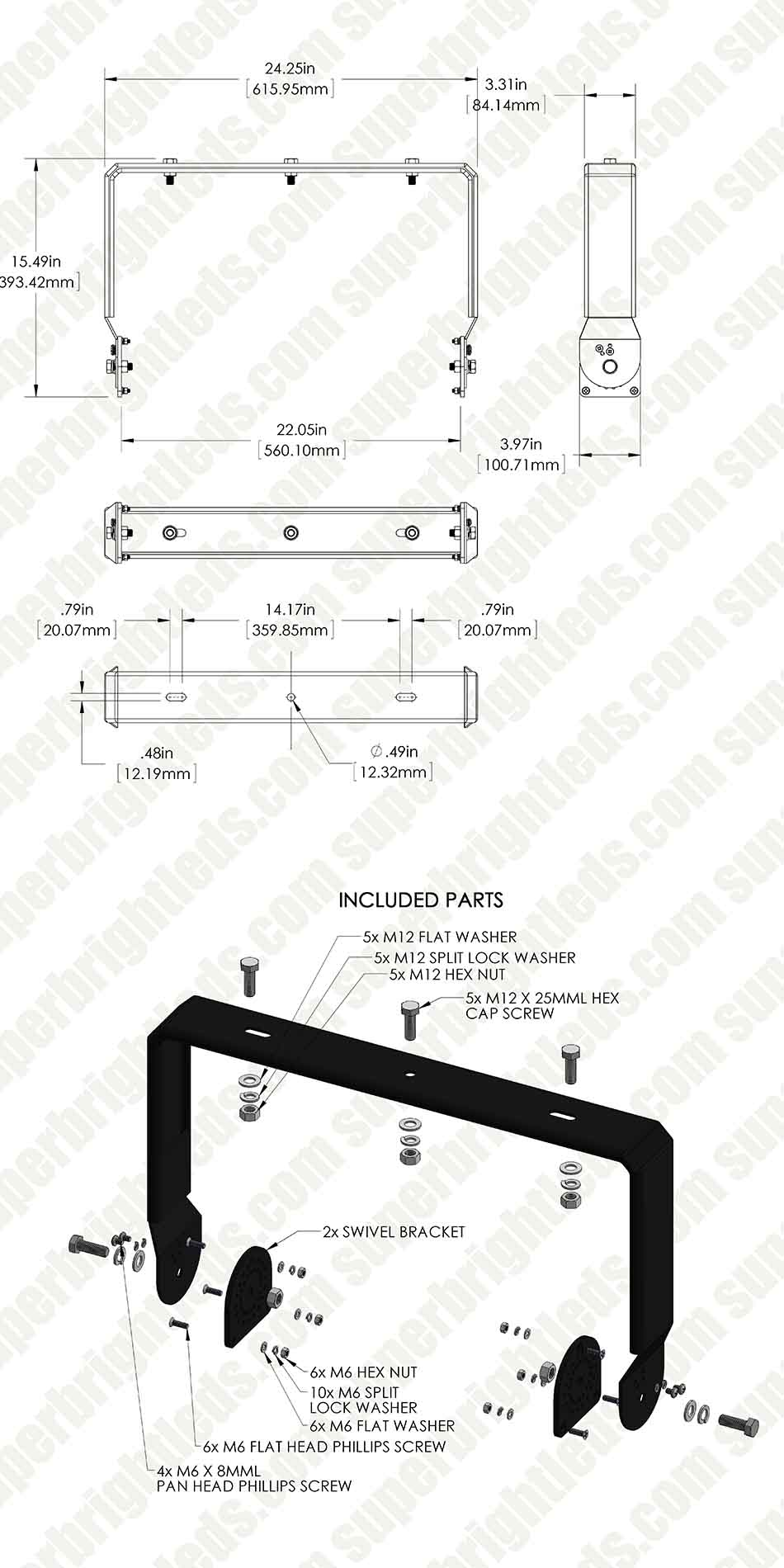 Swivel Bar Mount Kit for MD series Modular LED High Bay Light - 450W