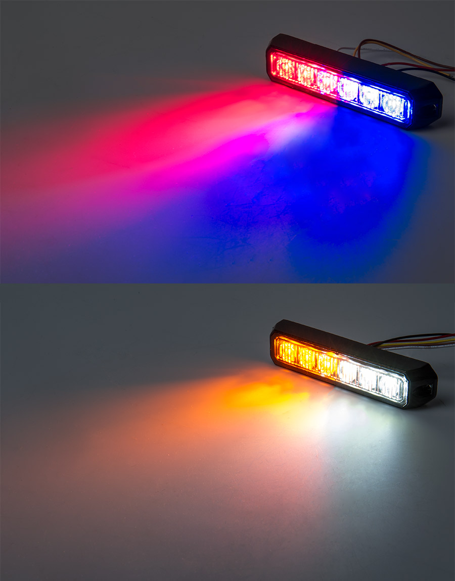 Two color vehicle led mini strobe light head built in controller 18 watt vehicle mini strobe two color light head on showing beam patterns red blue strobe top photo and amber white strobe bottom photo aloadofball Images