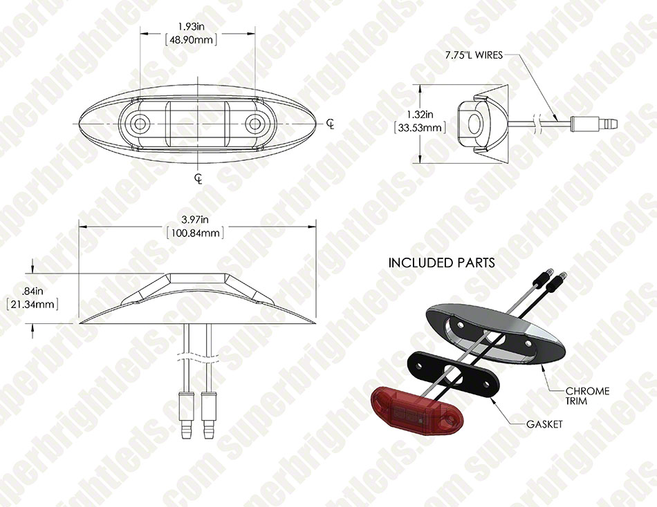 oval led truck and trailer lights