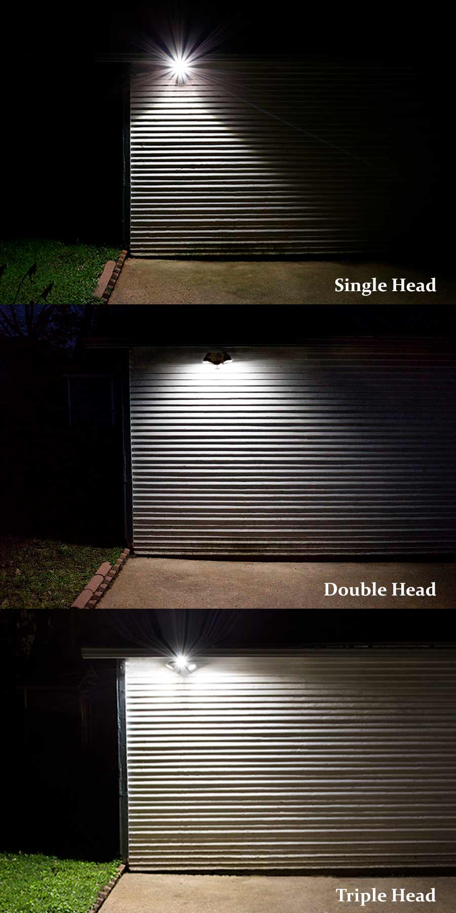Installation at the head with led lighting - Led Motion Sensor Light 2 Head Security Light 20w Comparison Of Single Double And Triple Light Heads